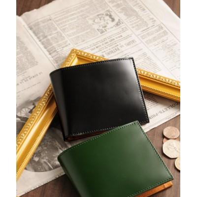 【ミアボルサ】 [PRAIRIE]日本製二つ折り財布コードバンレザーコインケースタイプ ユニセックス ブラック FREE Mia Borsa