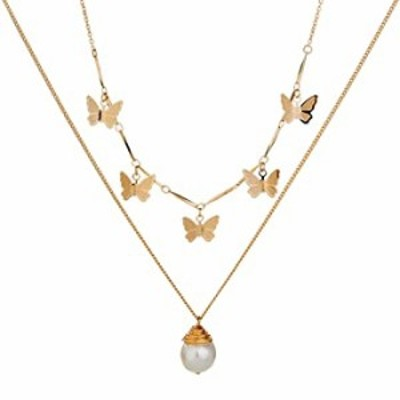 S SNUOY Butterfly Necklace for Women Gold Layered Choker Fashion Butterfly Pendant Chain Jewelry