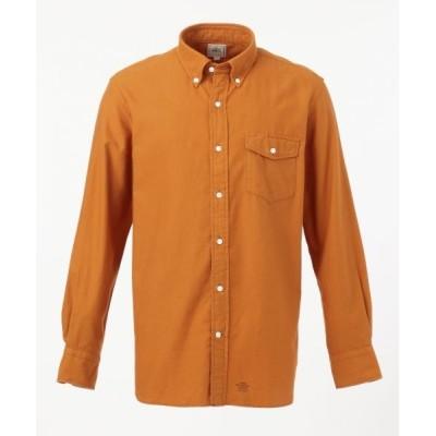 J.PRESS/ジェイプレス ソリッドヤーン サテンネル パチフラシャツ / ボタンダウン オレンジ系 XL