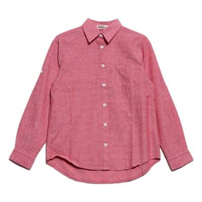 ドゥー ベル Doux Belle 綿混長袖シャツ 袖ロールアップ仕様 (ピンク)