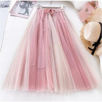 ミモレ丈半身スカートチュールスカート5色韓国風重ね重ねスカート色スプライス体型カバー海旅行衣装着回しスカート2点