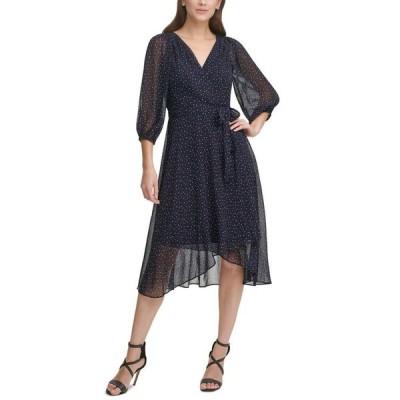 ダナ キャラン ニューヨーク レディース ワンピース トップス Printed Faux-Wrap Dress