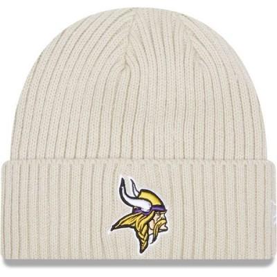 ニューエラ メンズ 帽子 アクセサリー New Era Men's Minnesota Vikings Core Cuffed Knit White Beanie
