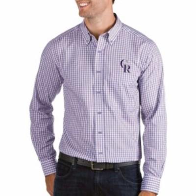アンティグア Antigua メンズ シャツ トップス Colorado Rockies Structure Purple Long Sleeve Button Down Shirt