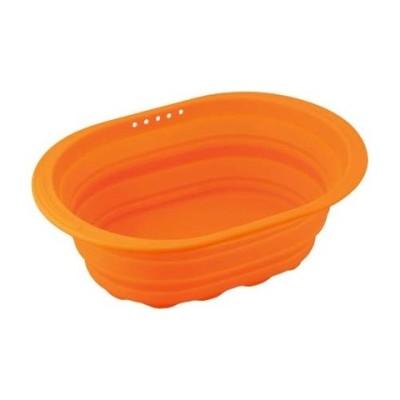 スキッとシリコーン 小判型洗い桶 オレンジ SR-4883 (1コ入)