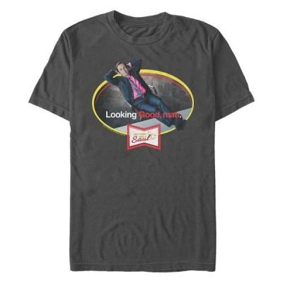 フィフスサン Tシャツ トップス メンズ Better Call Saul Men's Looking Good,Man Laid Back Portrait Logo Short Sleeve T- shirt Charcoal