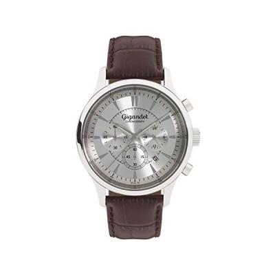 Gigandet Men's Quartz Watch Brilliance Chronograph Analog Leather Strap Silver Brown G48-001 並行輸入品