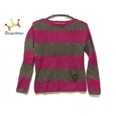 バーバリーブルーレーベル 長袖セーター サイズ38 M レディース - ダークブラウン×ピンク   スペシャル特価 20210405