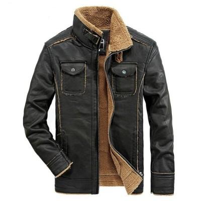 2色  メンズレザージャケット  ライダース   バイクウエア  皮ジャン  革ジャン  お兄系  立て襟  厚手  防寒  裏起毛