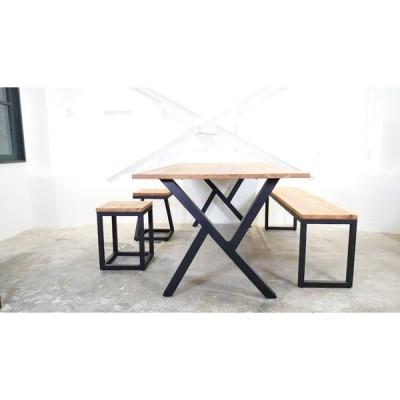 セットでお得 家具 ダイニングテーブル ベンチ 2脚 セット サイズ変更無料 オーダー 2人用 4人用 ベンチ 椅子 おしゃれ 二人暮らし 家族 シンプル 杉 アイアン