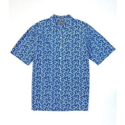 ダニエル クレミュ メンズ シャツ トップス Daniel Cremieux Signature Printed Light Indigo Short-Sleeve Woven Camp Shirt