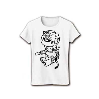 ねこ戦士 リブクルーネックTシャツ(ホワイト)