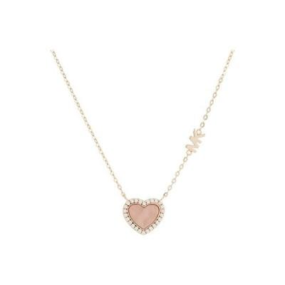 マイケル コース Kors Love Pave and Mother-of-Pearl Heart Pendant Necklace レディース ネックレス Rose Gold