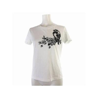 【中古】レッド ヴァレンティノ RED VALENTINO Tシャツ 半袖 鳥 花 刺繍 丸首 コットン 白 XS トップス レディース 【ベクトル 古着】