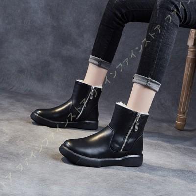 レディース 黒 スノーブーツ ムートンブーツ スノーシューズ ウィンターブーツ ショート 裏起毛 雪靴 防寒靴 防滑 冬用ブーツ 雪対応 ボアブーツ 冬靴