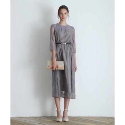 ドレス 【小さいサイズ・大きいサイズ有り! S、M、L、LL、3L、4L】 袖付き総レースワンピースドレス/結婚式・お呼ばれパーティードレス