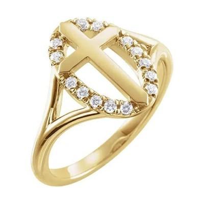 イエロー 1/5 CTW Halo-Style Cross Ring (ホワイト-ゴールド, 8)
