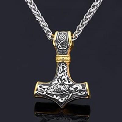 ネックレス 古代の宝物バイキング Mjolnir ステンレススチールネックレス - ゴールド & シルバー