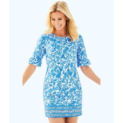 ワンピース リリーピュリッツァー Lilly Pulitzer FIESTA STRETCH DRESS Resort White On A Roll Blue 4 8