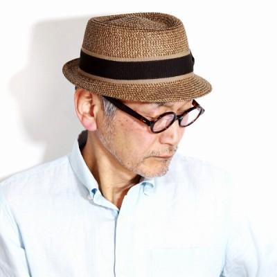 ポークパイハット 春 夏 ペーパーブレード グログランリボン イタリア製 帽子 ハット レディース GALLIANO SORBATTI ブレードハット メンズ ブラウン 茶 父の日