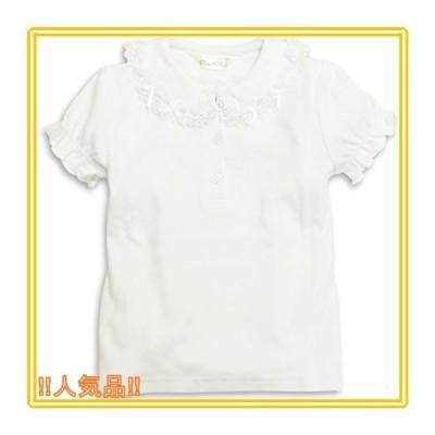 ASHBERRY (アッシュベリー) ニットブラウス(白ブラウス)半袖[リボン]綿100%/フォーマル/女の子/
