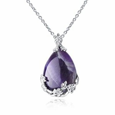 Natural Amethyst Quartz Heart Pendant, Opal Healing Stone Necklace Soothing Energy Relax Charms Stylish Elegant Jewelry for Wome