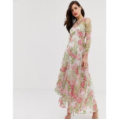 エイソス ASOS EDITION レディース ワンピース ワンピース・ドレス cutabout maxi dress in red embroidered floral Print