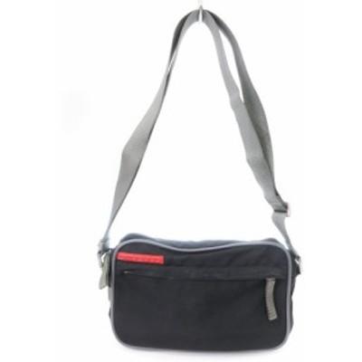 【中古】プラダスポーツ バッグ ショルダー ポシェット クロスボディ スクエア 4V0454 黒 鞄 メンズ レディース