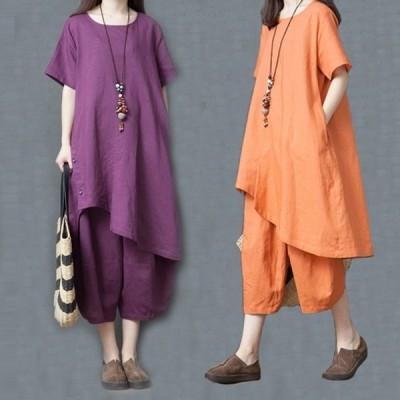 【セール】セットアップ レディース ワイドパンツ WE 2点セット 綿麻混 トップス ロングtシャツ ゆったり 体型カバー 大きいサイズ 201