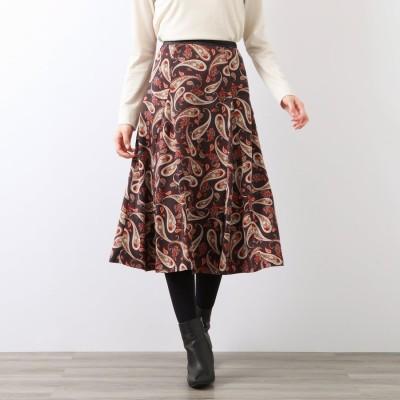 アマカ AMACA フローラルペイズリースカート (チャコール)
