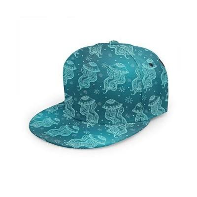 antkondnm クラゲ フラットビルキャップ クールなヒップホップトラッカーハット 男女兼用 調節可能な野球帽