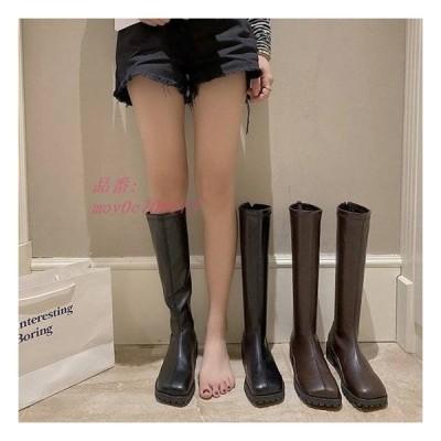 ロングブーツ ブーツ レディース ローヒール ロング 歩きやすい 滑り止め 履きやすい ボリュームソール 冬 シンプル 無地 秋冬 痛くない 脚長 美脚 おしゃれ 秋