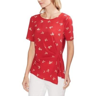レディース 衣類 トップス Vince Camuto Womens Floral Print Drapey Blouse Red S ブラウス&シャツ