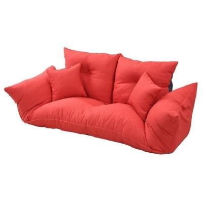 ソファー ソファ 2人掛け 二人掛け  ソファーベッド カウチソファー 座椅子 低い ローソファー リクライニング 布 レッド 赤