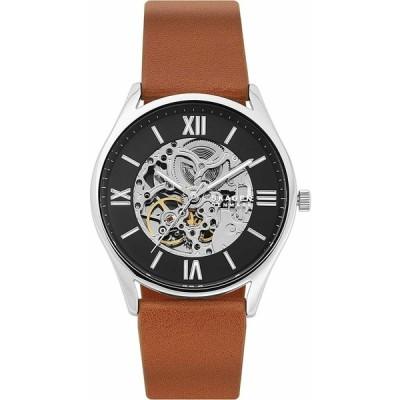 スカーゲン 腕時計 Skagen Holst ホルスト Automatic Black Skeleton Dial Brown Leather メンズ Watch SKW6613