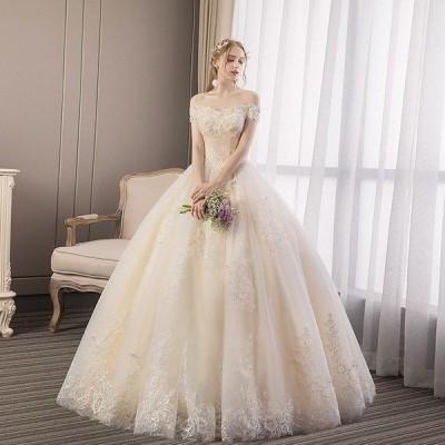 ウェディングドレス ウェディングドレス白 パーティードレス レース オフショルダー 花嫁ロングドレス 簡約 結婚式露背 二次会 お呼ばれ 挙式