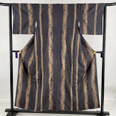 小紋 美品 名品 証紙あり 大島紬地 縦縞 絞り グレー 袷 身丈155cm 裄丈63.5cm S 正絹 中古