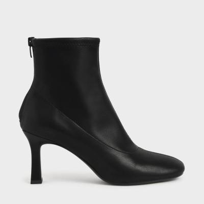 スプールヒール アンクルブーツ / Spool Heel Ankle Boots (Black)
