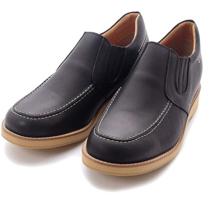 [北嶋製靴工業所] シークレットシューズ サイドゴア カジュアルシューズ 牛革 日本製 幅広 5.5cm 身長アップ 4E スリッポン 523 メンズ