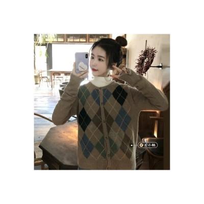【送料無料】秋冬 アウトドア インナー 丸襟 ひし形 セーターコート ルース ニットバッキング カー | 364331_A64585-2639101