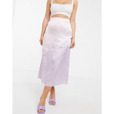 ユニーク21 UNIQUE21 レディース ひざ丈スカート スカート Unique21 Satin Panelled Midi Skirt In Pink And Lilac