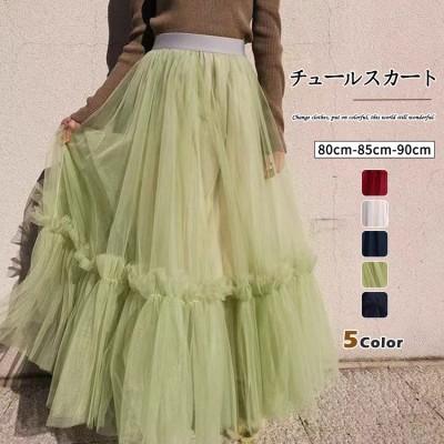1FB321   秋と冬の女性の新しい大型チュールスカート/ハイウエストレースプリーツスカートミドル丈薄いメッシュスカートのハーフ丈スカート