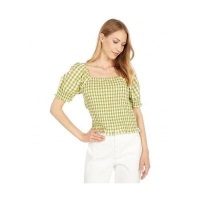 Madewell レディース 女性用 ファッション ブラウス Gingham Puff-Sleeve Smocked Bodice Top - Crisp Lime