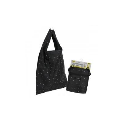 ポケットショルダーエコバッグ ランダムドット BK エコ、折りたたみバッグ (S:0040)
