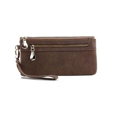 おしゃれ 大容量 長財布 スマホ 収納 可 レディース 革 財布 レザー スエード タイプ ウォレット (ブラウン)