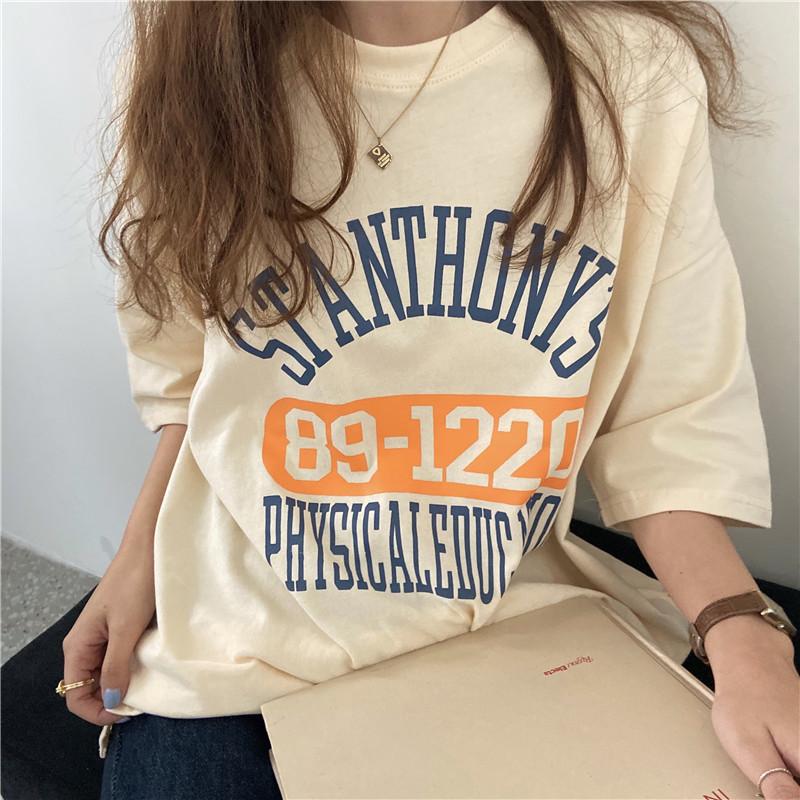 短袖T恤 171163新款INS磨毛百搭印花字母短袖內搭打底衫