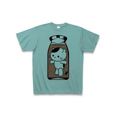 コーヒー牛乳の中のねこ Tシャツ(ミント)