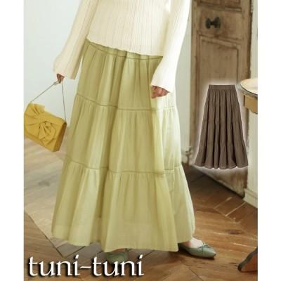 SMILELAND 大きいサイズ 綿100%ティアードロングスカート グリーン 5L レディース