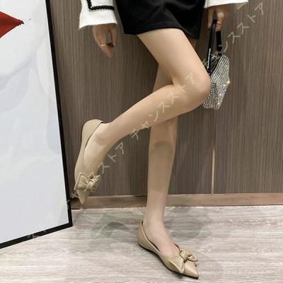 パンプス レディース ポインテッドトゥ 美脚 ヒール フラットシューズ リボン大きいサイズ 小さいサイズ エスパドリーユ 歩きやすい 履きやすい 通勤