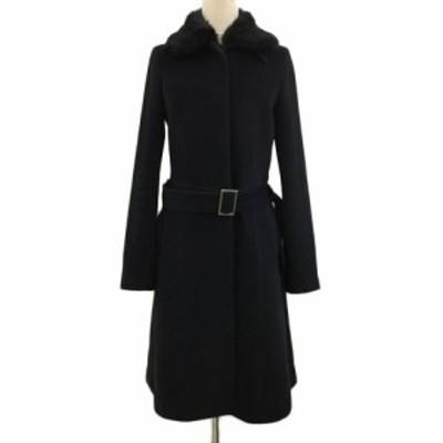 【中古】プロフィール PROFILE コート ロング 比翼仕立て ラビットファー ベルト付き アンゴラ 長袖 38 黒 ブラック